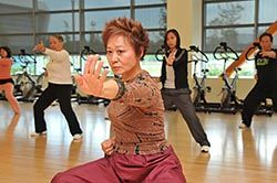 May Chen teaching a Tai Chi class at the Ohlone College Total Health and Wellness Center in Newark.  —Photo by Rod Searcey