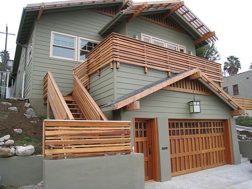 Craftsman 2 Story Addition Wood Deck Railing Front