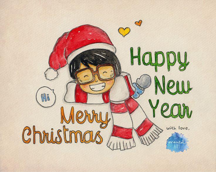 Merry Christmas ! illustrated by : mentol art freelance illustrator of cute cartoon mentolart.com