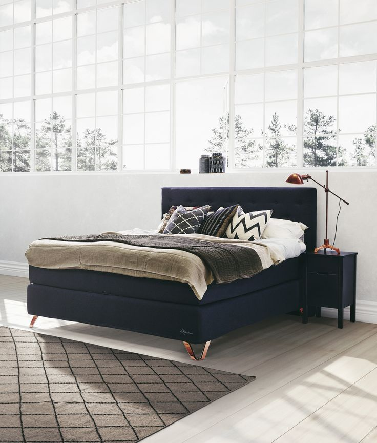 Jensen Signature J5 continental bed in Dark Blue textiles.