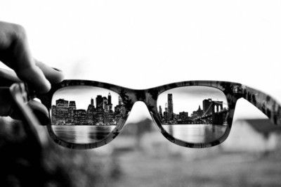 The city through his glasses. Its very effective. I like the use of obstacles.