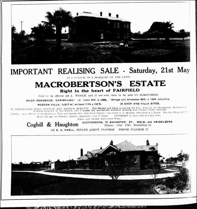 MacPherson Robertson's home Carmalea, Fairfield.  Table Talk (Melbourne, Vic. : 1885 - 1939), Thursday 12 May 1921, page 8