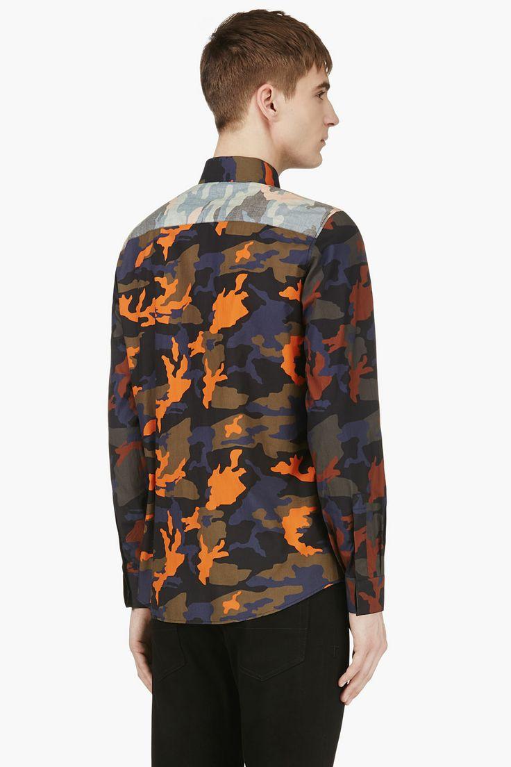 Givenchy Navy Orange Camo Button Down Shirt Tk