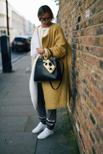 en vogue coop blogger black leather bag boyfriend coat mustard fuzzy coat oversized fall coat fall outfits fall colors printed pants