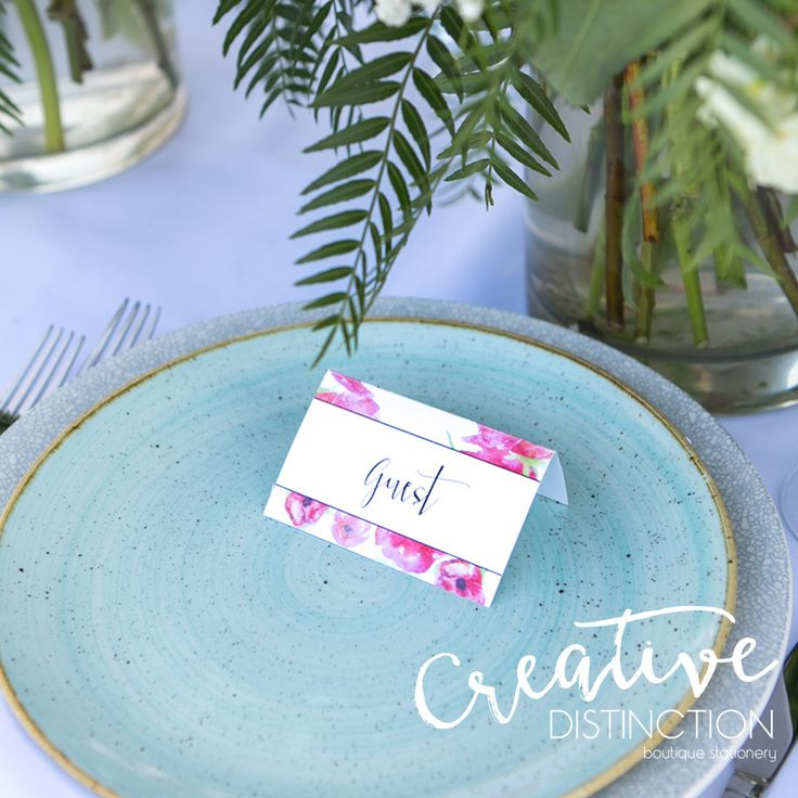JASMINE | Our watercolour design that is available as reception items such as our name tags. For all enquires please click on link in bio or contact us at info@creativedistinction.com.au  Photography - @ariaphotographyaus Flowers - @redearthflowers  Venue - @theriverstoneestate