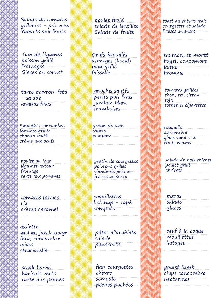 Grille de menus d'été par Tambouille