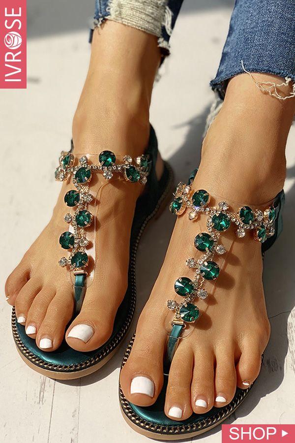 Studded Element Toe Put up Flat Sandals