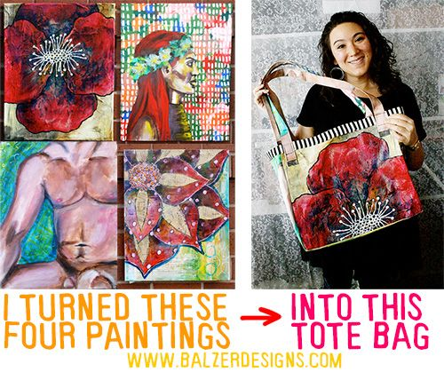 BalzerToteBag-wm - Recycling paintings on canvas into one of a kind totebags