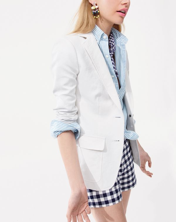 I love gingham and stripes but never would have thought to put them together. So fresh.