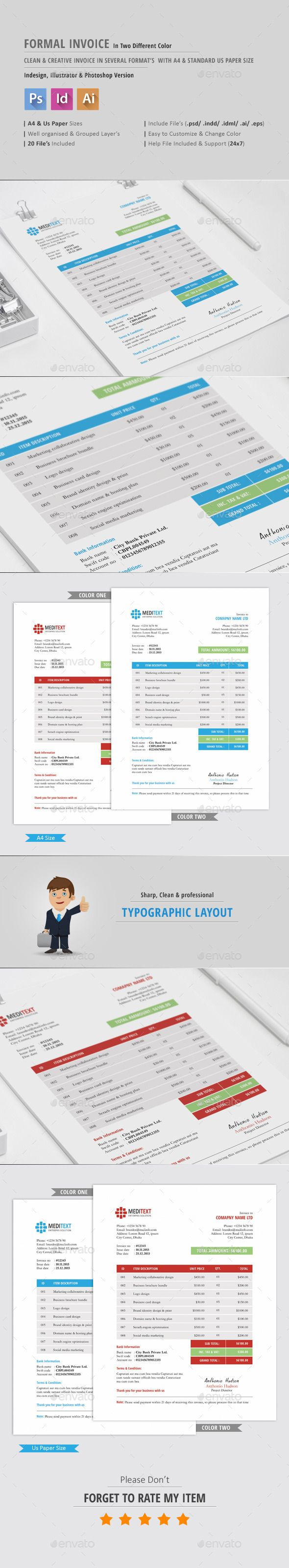 Formal Invoice Template by bddesignhub  Each template is fully layered and organized with proper names