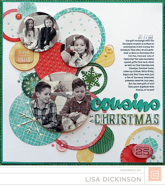 #papercraft #scrapbook #layout.  Cousins At Christmas...Basic Grey Evergreen Collection 2014