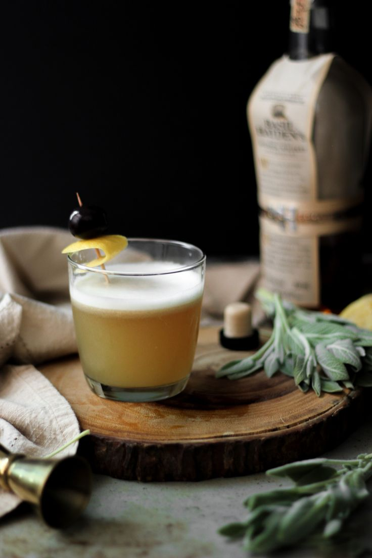 Christmas Cocktails: Cozy Maple Whiskey Sour with Sage Simple Syrup - She Eats