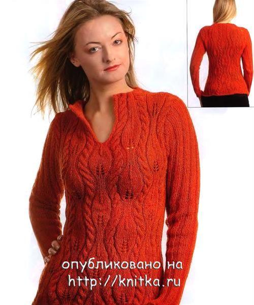 Модели женских вязаных спицами свитеров