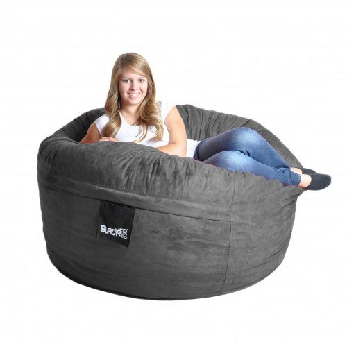 Special Offers - 5 Charcoal Grey Foam Bean Bag Chair like LoveSac Gray Microsuede SLACKER sack Love Sack - In stock & Free Shipping. You can save more money! Check It (March 28 2016 at 09:37PM) >> http://sofaarmchairusa.net/5-charcoal-grey-foam-bean-bag-chair-like-lovesac-gray-microsuede-slacker-sack-love-sack/