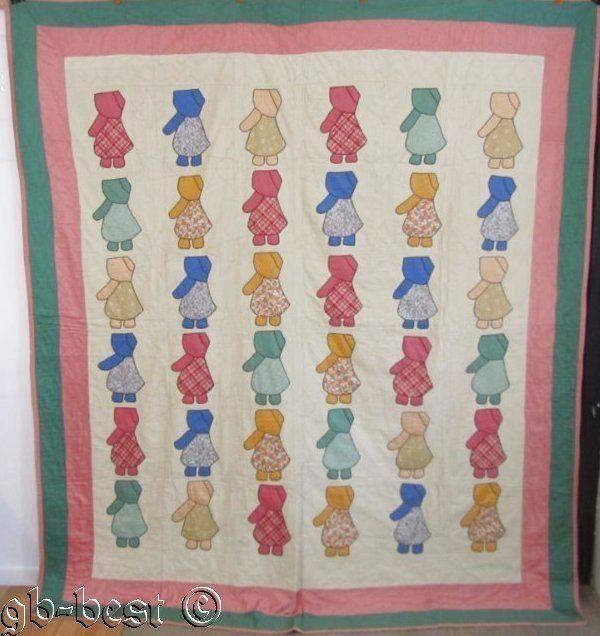 Beautiful c 30s Sue Bonnet Applique Quilt PINK Green PA Goschenhoppen Historians