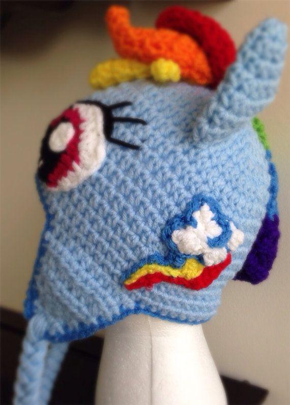 Rainbow Pony Crochet Beanie Hat van TwistsOfEnvy op Etsy