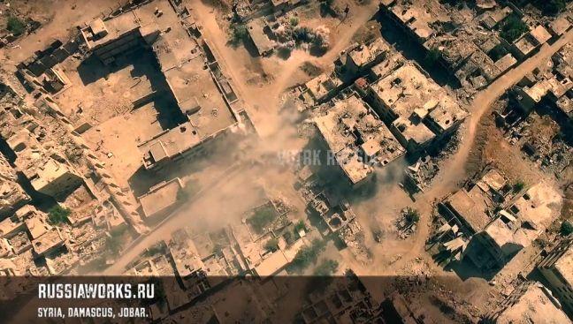 Siria, le riprese del quartiere di Jobar, la periferia orientale di Damasco, distrutto dai carri armati e dalle bombe, effettuate da un drone.