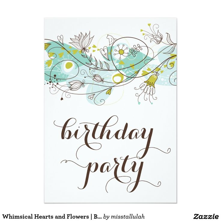 Whimsical Hearts and Flowers | Blue Birthday Card
