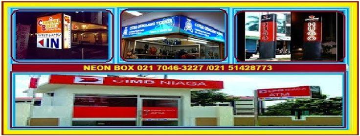 Neon box adalah Media promosi outdoor / papan iklan yang umumnya berbentuk box (kotak) dan didalamnya ada lampu neon sebagai penerang sehingga tulisan dan gambar akan terlihat menyala dan jelas ketika malam hari. sangat bagus untuk pemasaran suatu produk atau brand   HURUF TIMBUL GALVANIL/GALVANIS Telp 021 7046 3227 / 021 5142 8773