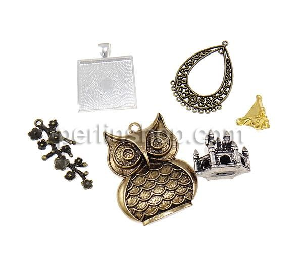Unterschiedliche Komponente, Zinklegierung, gemischt & antik imitieren, frei von Nickel, Blei & Kadmium, 12.5-59mm, Bohrung:ca. 1.5-6mm