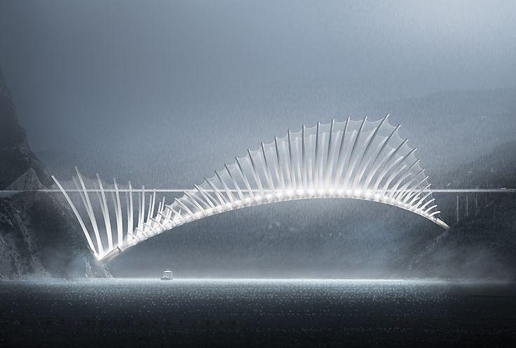 https://flic.kr/p/FosDLt | Flying Fish Bridge | Fish dorsal fin structure, over 1000 meter long Bridge concept project. Xray / facade view