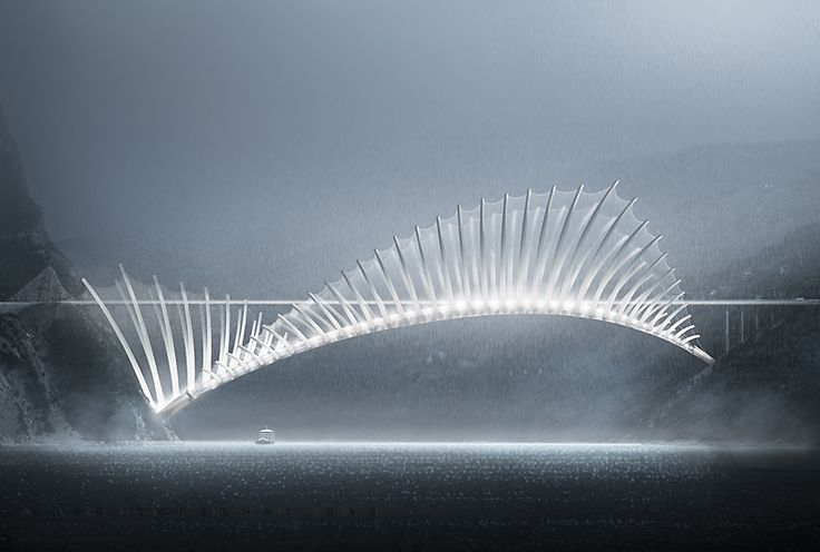 https://flic.kr/p/FosDLt | Flying Fish Bridge | Fish dorsal fin structure, over 1000 meter long Bridge concept project. Xray / facade view
