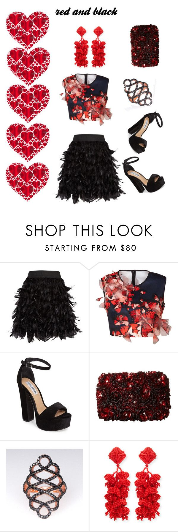 """red and black"" by tonhr ❤ liked on Polyvore featuring Alice + Olivia, Clover Canyon, Steve Madden and NOIR Sachin + Babi"