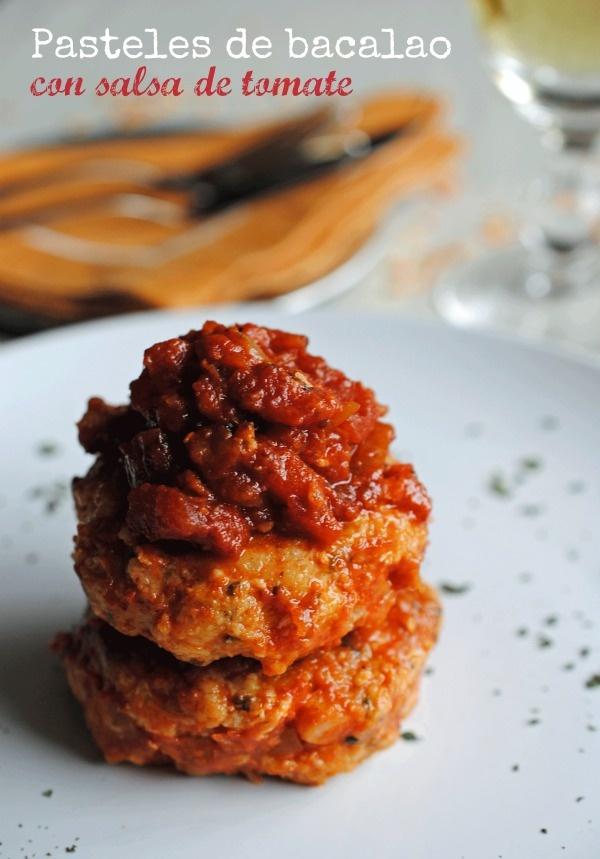 recetas de tía Alia: Pasteles de bacalao en salsa de tomate