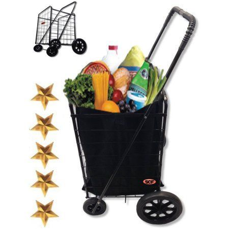 Extra Large Heavy Duty Black Utility Cart Fold Up Rolling Storage Shopping Carrier with Bonus Liner