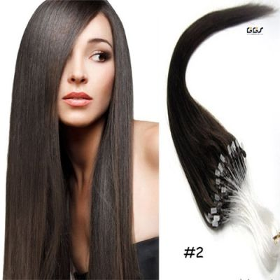 Micro Ring Hair Extensions #2 Dark Brown Straight Wave Unprocessed Brazilian Hair Virgin Remy Nano Loop Hair Weaves 5A 100g
