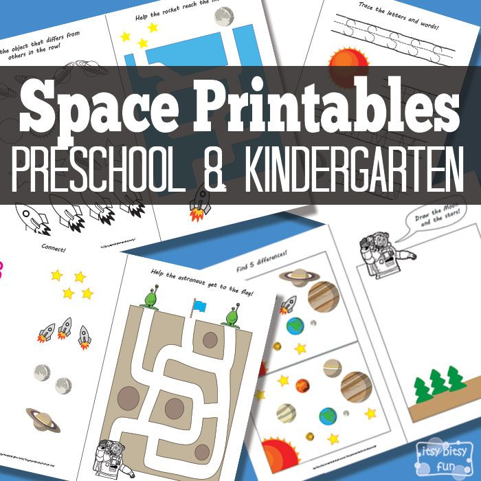 Itsy Bitsy Fun has a FREE Space Themed Printables pack for preschoolers and kindergartners.  This fun pack includes:  -1 page where kids have t