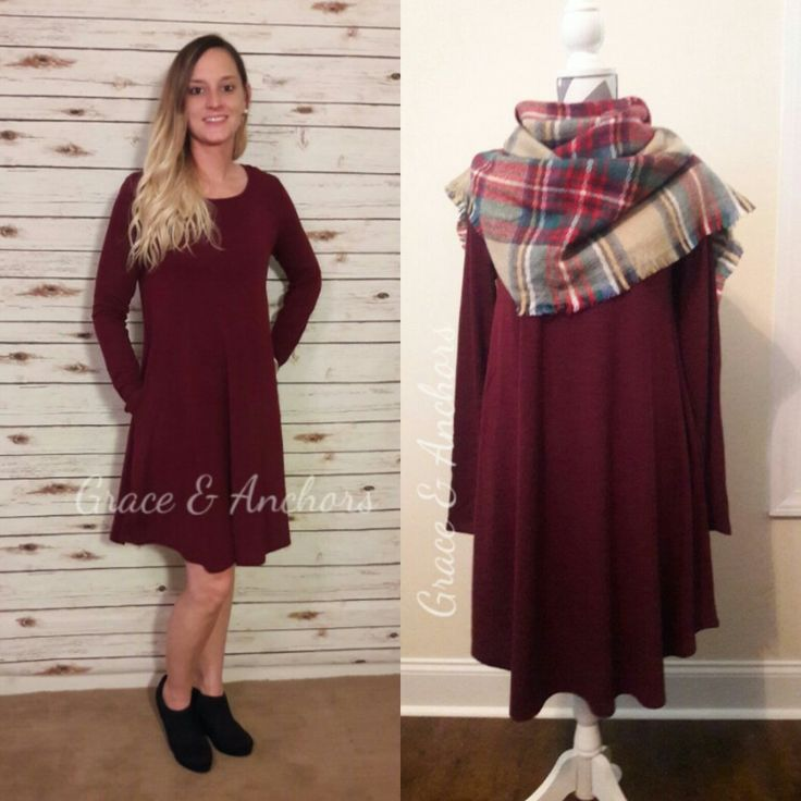 Burgundy So-in-Love Pocket Dress