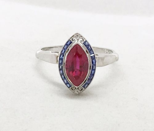 ANTIQUE-SYNTHETIC-RUBY-amp-French-Cut-BLUE-SAPPHIRE-ART-DECO-14K-WHITE-GOLD-RING