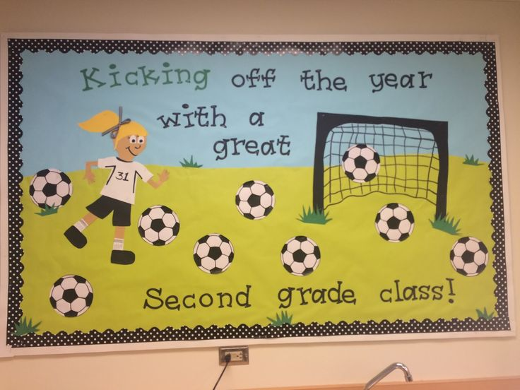 Image result for kick off the year with a good book bulletin board soccer