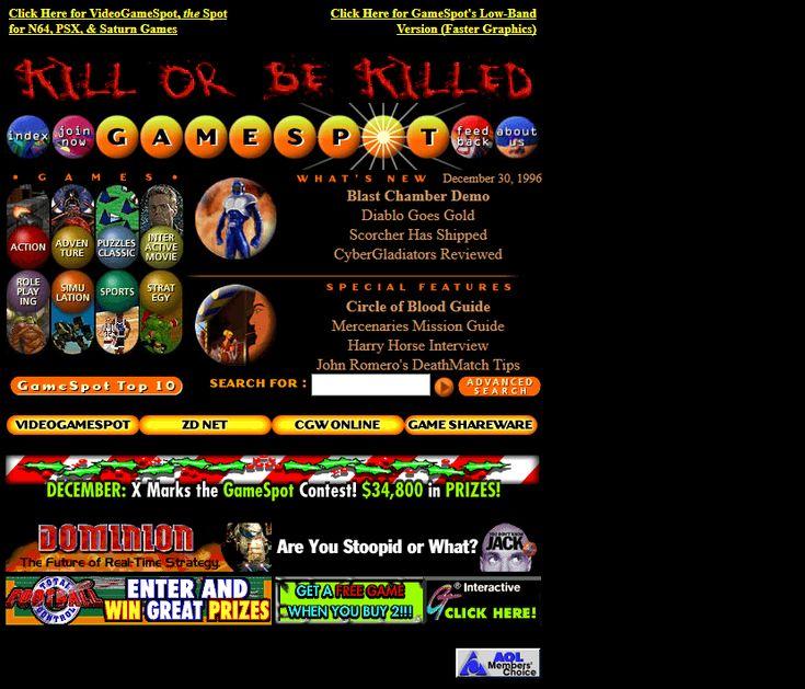Gamespot website in 1996