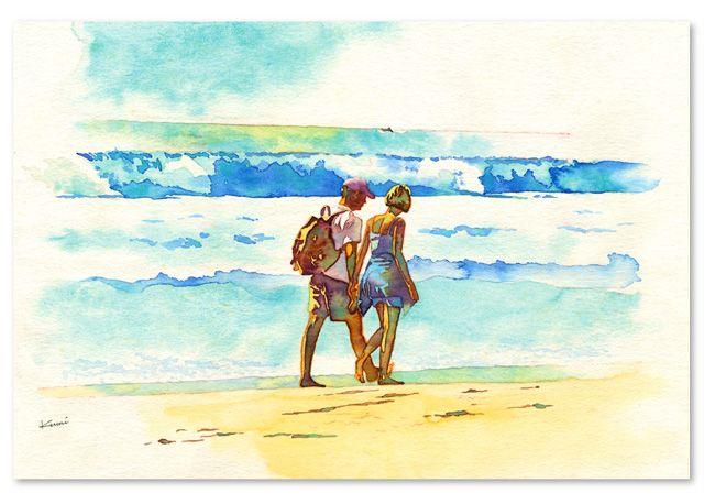 a walking the beach