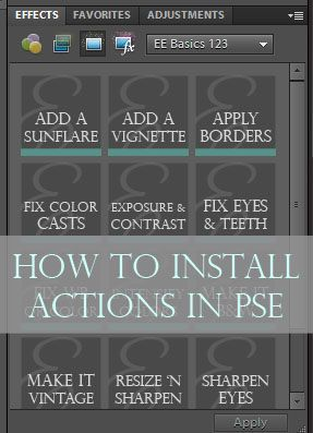 Detailed tutorial on for installing actions in PSE (on a PC and Mac) via @amandapadgett.  everydayelementsonline.com