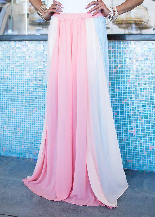 Skirt, Long skirt, Color Block Skirt, Blue Skirt, Pink Skirt, Yellow Skirt, Cute, Fashion, Online Boutique - Modern Vintage Boutique