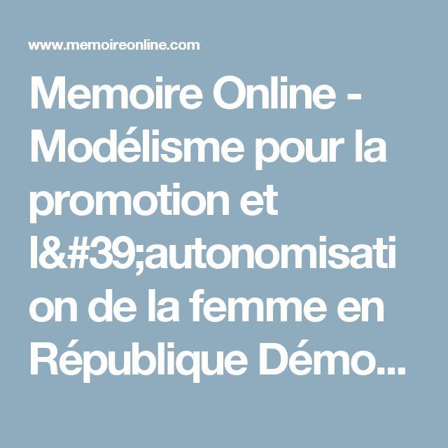 Memoire Online - Modélisme pour la promotion et l'autonomisation de la femme en République Démocratique du Congo post conflit - Aurely SUKAMI