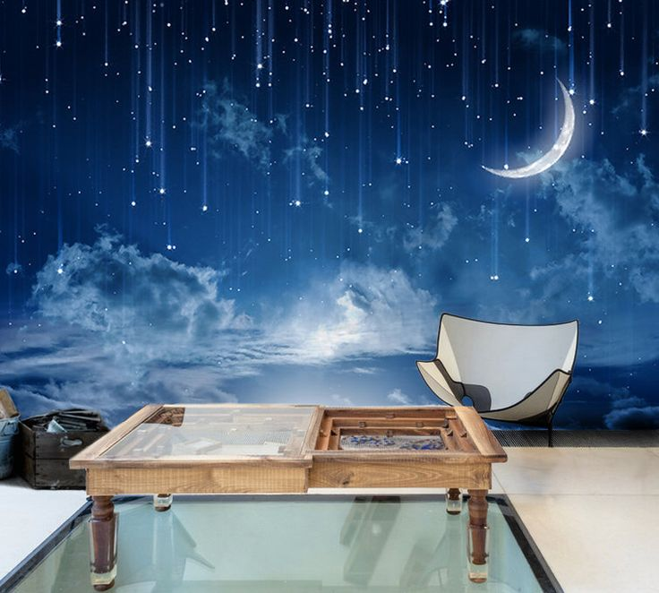 Moon Sky Wallpaper Mysterious Moonlit Wall Mural Starry Night Wall Art Dark Blue Sky Painting