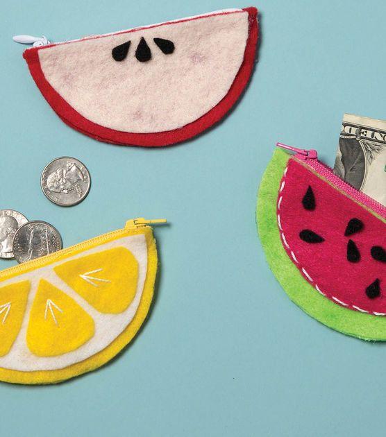 How To Make A Back to School Fruit Shape Felt Change Purse