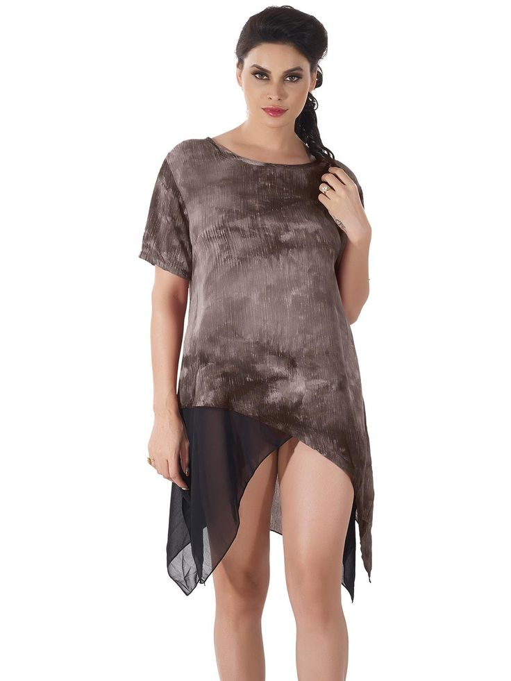 Shyle Light Brown Loose Fit Shift Dress