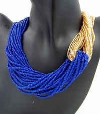Women Accessories Blue Gold Seed-bead Beaded Layered Chunky Chain Necklace #635