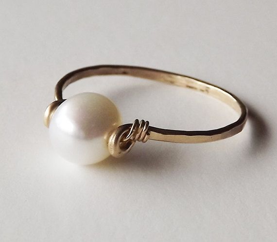 Freshwater Pearl Hammered Gold Filled Ring - Pearl Ring - Gold Ring - Stacking Ring. in silver though!