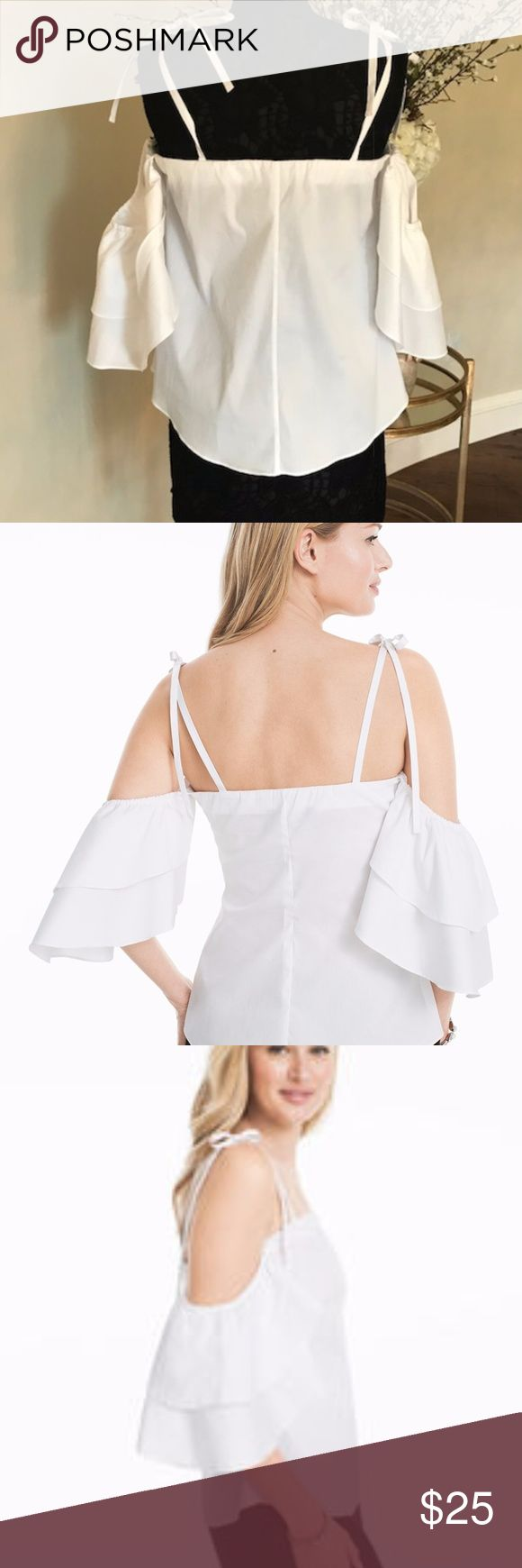 "NWT WHBM RUFFLED COLD-SHOULDER WHITE BLOUSE Brand New!  Cold-shoulder white blouse Ruffled short sleeves with ties at each shoulder Approx. 25"" from shoulder Cotton/nylon/spandex. Machine wash cold.  For the frill of it, we gave our latest shoulder-baring blouse dramatic ruffled sleeves and a white haute hue. The ties at the shoulders add extra feminine flair without the fuss...meaning you can adjust to your liking. White House Black Market Tops Blouses"