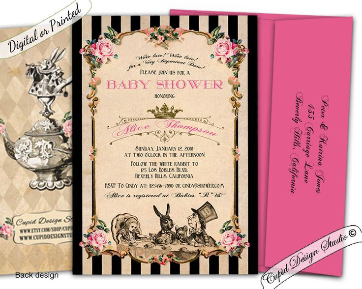 51 best images about alice in wonderland baby shower on pinterest, Baby shower invitations