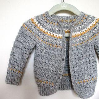 Crochet-Fairly Isleish Fair Isle Style Cardigan Sweater for Boys and Girls $4.00