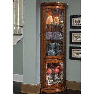 Fresh solid Wood Corner Curio Cabinet
