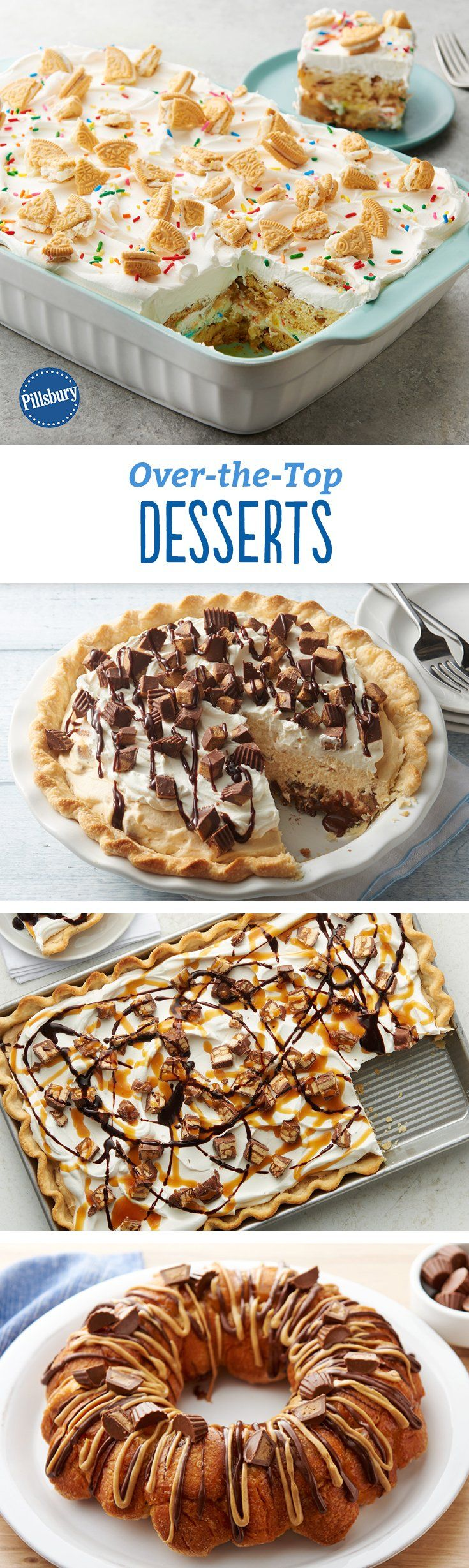 These recipes are our most outrageous desserts yet. (Yes, that does include the time we stuffed an Oreo™ in a crescent). And by outrageous, we mean crazy-delicious: from a birthday cake-inspired layered cinnamon roll breakfast dish to a slab pie smothered in caramel and topped with Snickers™, you're going to want to try these delightful recipes.