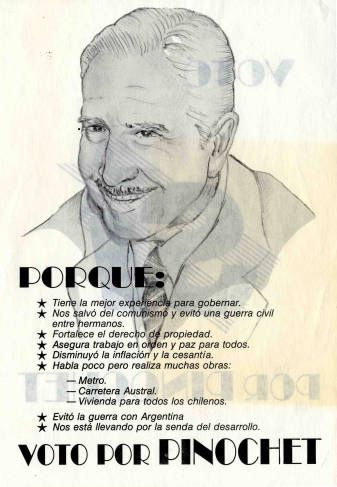 Por qué voto por Pinochet. Campaña del SI, plebiscito de 1988 (http://econtent.unm.edu/cdm/singleitem/collection/LAPolPoster/id/3922/rec/369)